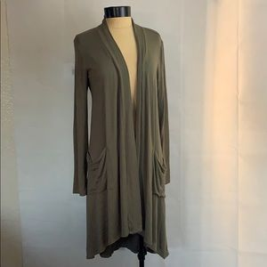 Bob ray Open Front Cardigan Olive Sweater Size S